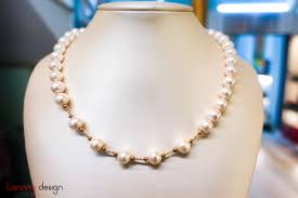 100 Pearl Design Necklace With Small 14k Gold Ball
