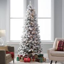 Classic Flocked Slim Pre Lit Christmas Tree