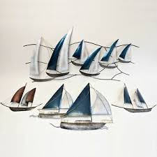 details zu wanddeko segelboot metall garten wohnzimmer terasse handarbeit wandschmuck bild