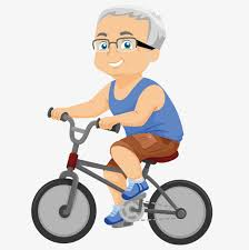 The Old Man Riding A Bike Clipart