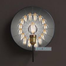vintage loft mirror wall l edison light bulb wall sconce mirror