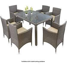 montafox 13 teilige polyrattan essgruppe 6 personen tisch stühle auflagen bezüge sitzgruppe terasse esszimmer farbe sandstrand