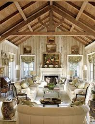 Pecky Cypress Paneling In The Living Room Of Nancy Mortons Boca Grande Florida Home Adds A Rustic Feel To Vaulted