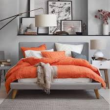 modern bedroom color schemes trendy gray color orange