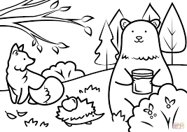 Autumn Animals Coloring Page Free Printable Pages With Fall For