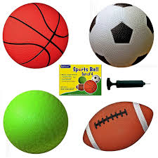 Amazon AppleRound Set Of 4 Sports Balls With 1 Pump 5 Soccer Ball Basketball Playground 65 Football Toys Games