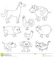Royalty Free Vector Download Cute Cartoon Farm Animals And Birds For Coloring Book