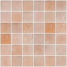 Trikeenan Basics Tile In Outer Galaxy by Susan Jablon Mosaics 2x2 Inch Matte Peach Pink Glass Tile