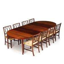 Dining Room Of Brazilian Rosewood Consisting Eight Chairs And Table With Extension By Ole