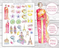 Free Printable Thailand Illustration Planner Stickers