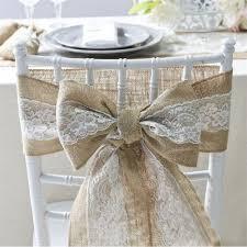 6pcs Lot Burlap Lace Hessian Natural Naturally Elegant Chair Sashes Jute Tie Bow