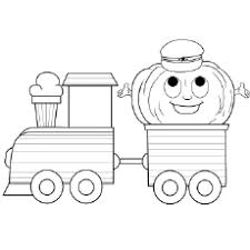 Smiling Train Carrying A Load Coloring Pages