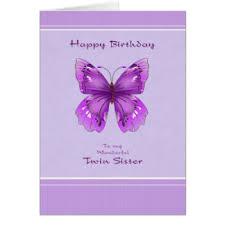 Twin Sister Birthday Card Purple Butterfly