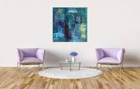 abstraktes großes bild acryl painting türkis blau bunt 50x50cm art002