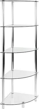 stilista designer glasregal eckregal glas 5 ebenen h 137 cm x b 40 cm 5mm sicherheitsglas mit verchromten aluminium