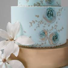 Blue And Gold Painted Wedding Cake By Wildflower Cakes London Wildflowercakesco