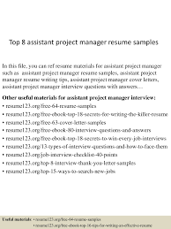 100 Assistant Project Manager Resume Top 8 Assistant Project Manager Resume Samples