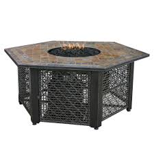 Gas Lamp Mantles Home Depot by Uniflame 21 In Slate Tile Hexagon Propane Gas Fire Pit In Bronze