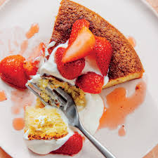Olive Oil Cake With Honey Yogurt Cream And Strawberries