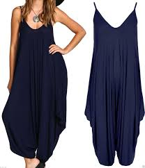 chic ladies baggy harem jumpsuit romper sleeveless all in one v