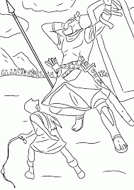 Free David And Goliath Fight Coloring Page Printable