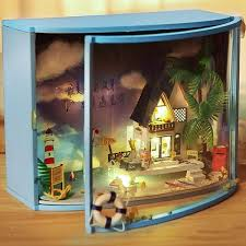 LED DIY Seaview Dollhouse Miniature Wooden Furniture Doll House