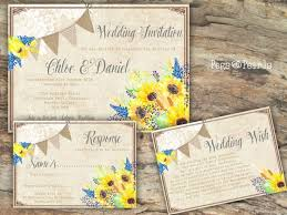 Personalised Rustic Bunting Lace Sunflower Wedding Invitations Packs Of 10