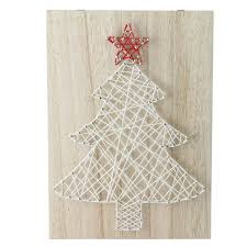11 Crazy String Natural Finished Wood And White Christmas Tree Wall Decoration