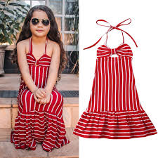 Kids Girls Striped Maxi Dress Princess Pageant Party Beach Long Sundress Casual
