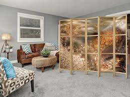 paravent pusteblume abstrakt 225x171 cm 5 teilig einseitig eleganter sichtschutz raumteiler trennwand raumtrenner holz design