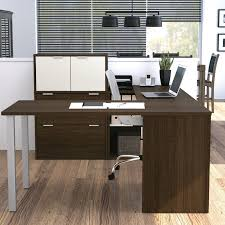 Bestar U Shaped Desks by Furniture Modern Black Walnut Office Desk With Free Standing Low