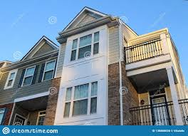 100 Townhouse Facades Modern In The Sunny Day Stock Photo