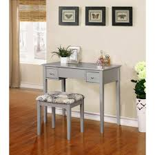Linon Home Decor 2 Piece Silver Vanity Set SIL01 The Home Depot