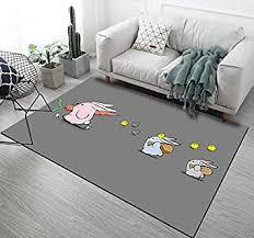 kinderteppich grau gelb rosa kaninchen grau teppich