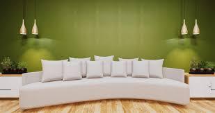 wohnzimmer mit grüner wand premium foto