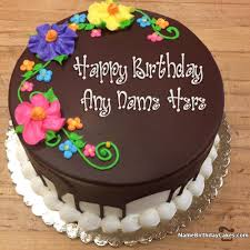 Happy Birthday Birthday Cakes s Round Brown Pink Purple Yellow Chocolate Birthday Cakes With Flower Name And Floral
