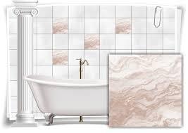 fliesen aufkleber folie marmor öl ölfarben abstrakt gold creme bad wc deko küche