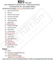 The Freedom To Rock Tour Set List September 10 2016