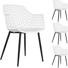 idimex esszimmerstuhl lucia im retro design stühle küchenstuhl essstühle stuhl mit armlehne sitz aus kunststoff in weiß im 4er set