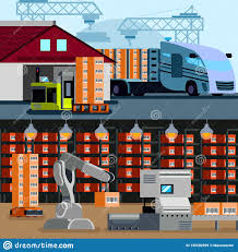 100 Truck Store Automated Warehouse Flat Compositions Stock Vector