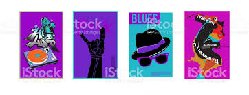 Vector Set Of Music Event Poster Design Template Rock Jazz Blues And Hip