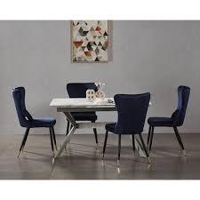 essgruppe hartshorne mit 4 stühlen canora grey farbe tischplatte hellgrau farbe des tischgestells grau farbe stühle blau und gold