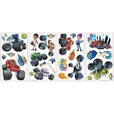 100 Monster Truck Decals Blaze And The Machines Wall 28ct Party City