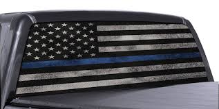 100 Rear Truck Window Decals FGD Brand Wrap Thin Blue Line American Flag