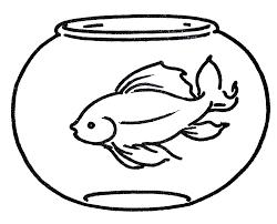 Fish Bowl Coloring Pages Clip Art