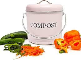 jolitac küche kompost eimer 5l komposteimer kompostbehälter bio mülleimer kücheneimer küchenabfalleimer für kompost aus metall mit deckel und 8 stück