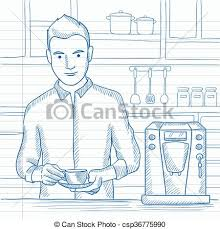 Man Making Coffee A Preparing With Machine In The