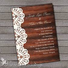 Affordable Rustic Lace Wood Wedding Invites IWI311