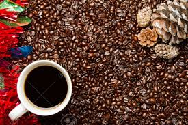 Coffee Beans W Cup Christmas Frame Border Stock Photo