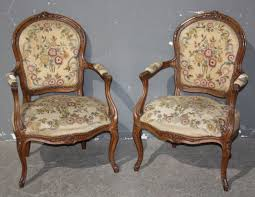 louis xvi chair antique pair 2 louis xv open arm chairs carved j6664 for sale